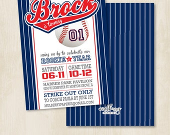 Custom Birthday Party Invitation by Mulberry Paperie - Baseball