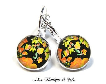 925 Sterling Silver: Stud Earrings with glass cabochons * flowers * (090218.7) 3 sizes