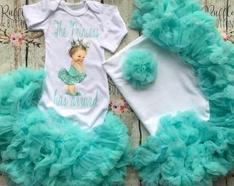 Princess gown set, the princess has arrived, baby girl gown, tutu petti gown, mint blue, baby shower gift, diamond blue, going home outfit,