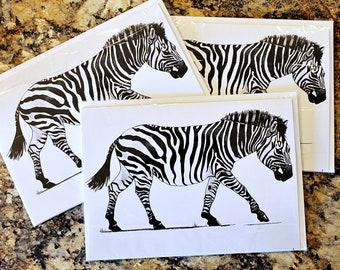 Zebra Walking - Blank Greeting Card with Envelope