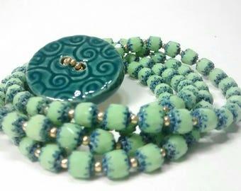 Teal Green Blue and Gold Wrap Bracelet