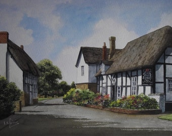 Original Watercolour Painting of The Gardener's Arms in Alderton a Gloucestershire Village in England