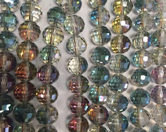 Round crystal beads,glass, 96 cut faceted, 12mm, 23beads