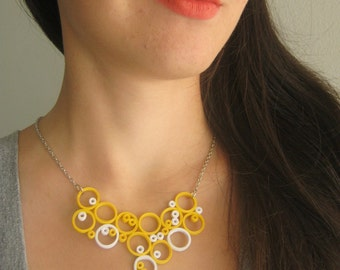 Yellow and White Necklace, Geometric Necklace, Circle Necklace, Designer Bubble jewelry
