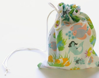 Mermaid Fabric Small Gift Bag, Fully lined with a Ivory Satin Drawstring - Undersea Fabric Party Bags, Drawstring Bags