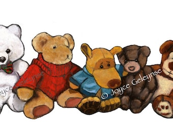 Freehand Clip Art, Five Stuffed Animals in a Row, Oil Pastel Painting, Toys, Childhood, Teddy Bears, Commercial Use, INSTANT DOWNLOAD