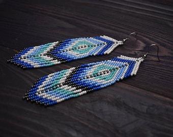 Beaded Fringe Earrings, Tribal Boho Jewelry, Indian Earrings Hippie Long Fringe Gypsy Statment Earrings Blue Turquoise Native American style