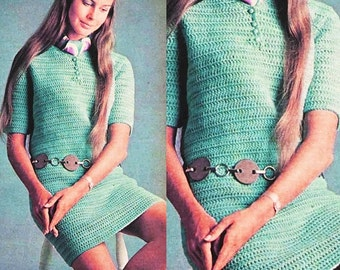 CROCHET PATTERN - Lacy Mini Dress - Vintage Pattern - PDF Instant Download - 70s Summer Dress - Digital Pattern - Hippie Sweater Dress - Vtg