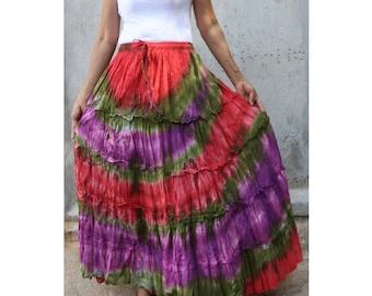 Blue Red Tie Dye Cotton  Boho Hippie Gypsy Comfy Summer Casual Long Elastic Waist Skirt S-L (TD 168)
