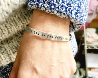 i love you to the death star and back cuff bracelet - Star Wars jewelry - gift for her - Empire Strikes Back - aluminum -
