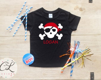 Personalized Birthday Boy shirt / Baby Boy Clothes Pirate Skull Shirt Crossbones Tee Name Custom Shirt Baby Bodysuit Toddler 1 Year Old 195
