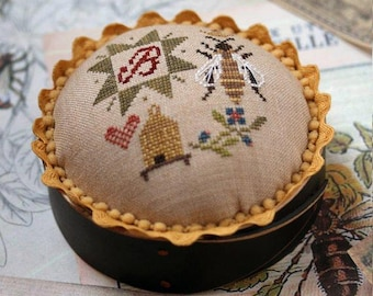 NEW! HEARTSTRING SAMPLERY Queen Bee Pincushion counted cross stitch patterns at thecottageneedle.com 2018 Nashville Market