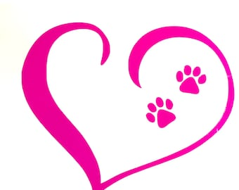 DIY Open Heart Vinyl Decal, Dog Paw Prints, Choose Size, Choose Color, Laptop Decal, Tablet, Car Window Decal, Cell Phone, Glass & Drinkware