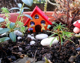 Fairy wooden house for miniature garden wooden house red cottage