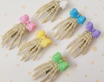 Kawaii Skeleton Hand with Bow Hair Clip - Fairy Kei Decora Pastel Goth Harajuku inspired