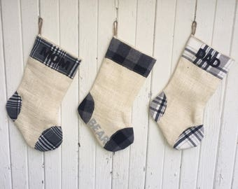 Gray Plaid & Burlap Christmas Stocking- Gray/Black/White-Winter Whites- Natural Burlap-Cotton Flannel- Rustic-Cabin-Woodland-Holiday Decor