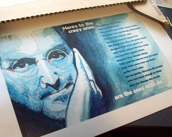 "11 x 17 PRINT of a Steve Jobs watercolor along with ""Here's to the crazy ones"" quote"