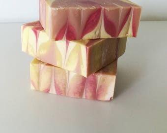 Scented bar soap, handcrafted cold processed soap, autumn soap, pink soap, gifts for her, mothers day gift, bridal shower gift, favors