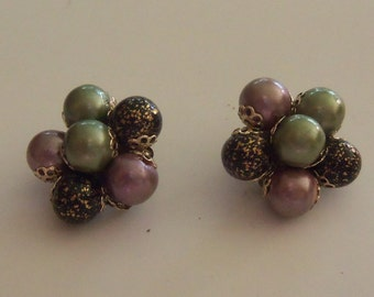 Mid-Century Cluster Earrings - Tri-Colored Lavender, Black and Olive Green - HONG KONG