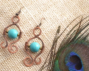 copper earings, turqoise earings, turqoise jewerly, turqoise wire earings, handmade earings, boho earings, summer earings, hippie, bohochic