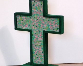 Small standing wooden cross with polymer clay inset - green