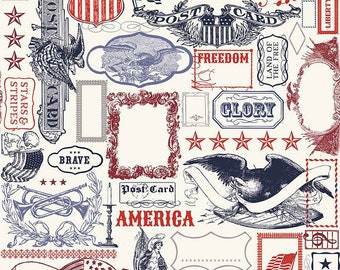 SALE Lost and Found Americana Main Multi - Riley Blake Designs - Patriotic USA - Quilting Cotton Fabric - choose your cut