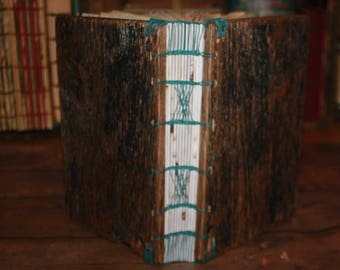Wooden Wedding Guest Book, Reclaimed Wood Journal, Teal and Brown Hostess Gift, Birthday Gift, Writing book, coptic binding, Bound Art Book