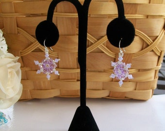 FROZEN Snowflake Earrings, Hand Stitched in Lavender  - Snow - Swarovski Crystals