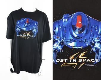 90s Lost in Space T-Shirt Tee Graphic T Black Movie Robot Robots Android Science Fiction Sci-Fi Sci fi Film Promo XL Danger Will Robinson