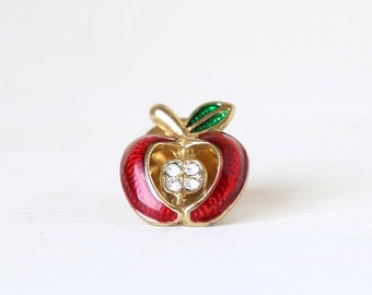 Little Red Apple Teachers Brooch Pin - chic vintage accessories
