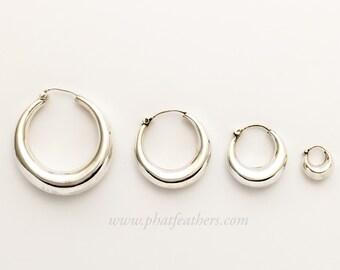 Chunky silver hoop earrings, tribal silver hoop earrings, silver tribal hoop earrings, plain hoop earrings, silver hoop earrings
