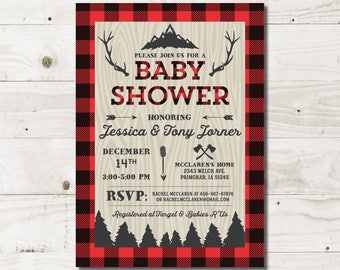 Buffalo Plaid Baby Shower Invitation lumberjack baby lumberjack shower baby shower invite boy baby shower buffalo plaid printed invitation