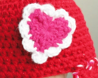 Little Valentine Baby Beanie Handmade Crocheted Red Cap Hot Pink Sparkly Heart with Braided Ear Flaps