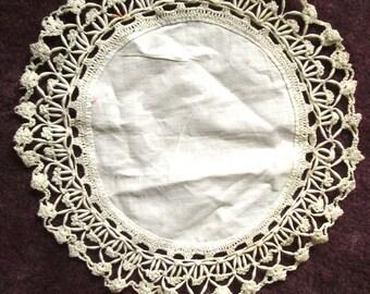 Unusual Needlework Linen Doily