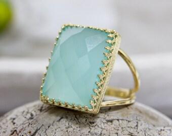 ETSY BIRTHDAY SALE - gold ring,aqua ring,chalcedony ring,rectangular ring,gemstone ring,statement ring,cocktail ring
