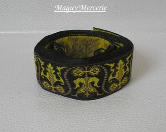 Black and lime green polyester Ribbon trim