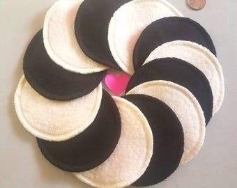 12 large reusable hemp facial cleansing pads makeup remover cotton rounds washable organic poufs eco-friendly black/white