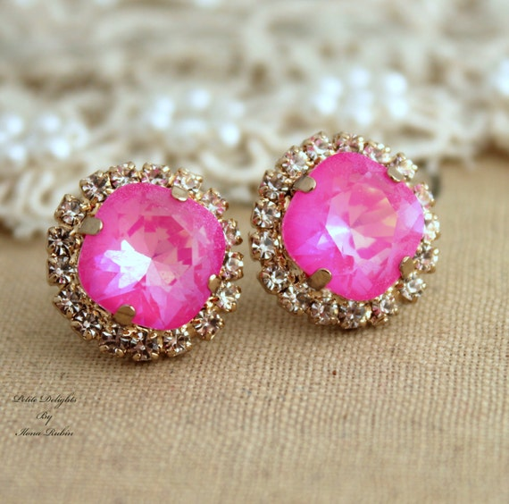 drop pink earrings crystal alternative drops htm sparkly views p with rhinestones neon cabochon