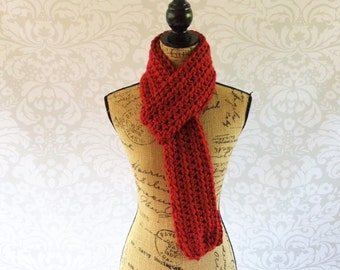 Ready To Ship Unisex Scarf Crochet Knit Cranberry Red Women's Accessories Fall Winter