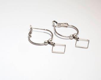 Geometric earrings   Minimalist earrings   Boho   Sterling silver   Hoop earrings