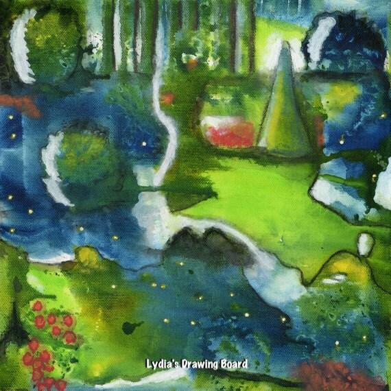 Abstract Painting, Abstract Art, Abstract Wall Art, Abstract Print, Landscape, Intuitive Painting, Abstract, Firefly, Abstract Landscape