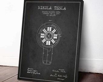 1889 Nikola Tesla Electro Magnetic Motor Patent Canvas Print, Wall Art, Home Decor, Gift Idea, FINT03C