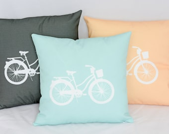 SET of THREE // Bicycle Pillow Cover // Bike Pillow Cover // Decorative Pillow Cover