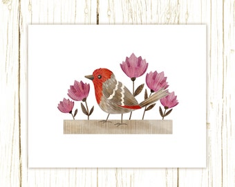 House Finch Print -- bird art -- bird art 52 birds stephanie fizer coleman illustration