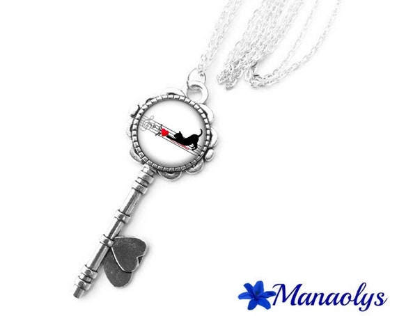 Necklace silver key, glass cabochon, cats and musical 396