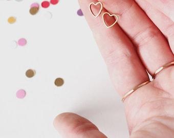 Gold Heart Stud Earrings / simple heart outline studs in brass / sterling silver posts