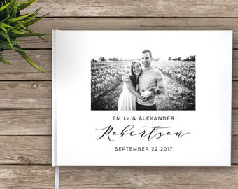 Wedding Guest Book with photo, Photo guest book, Wedding Journal, Custom Guest Book, Personalized Guest Book, modern guest book