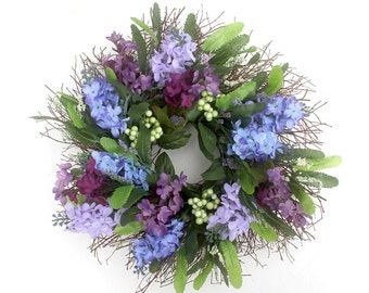 Lilacs and berries spring wreath, Spring wreath for front door, Spring decor, summer wreath, Mother's Day gift, small wreath, home decor