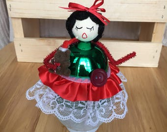 Christmas Shiny Brite Girl Assemblage