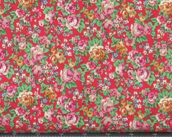 Purple, Gold, Blue, and Green Small Floral on a Red Background from Marshall Dry Goods, 100% Cotton Calico Fabric for Sale, MDGCountry-11Red
